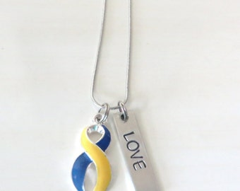 Down Syndrome Customizable Awareness Ribbon Stainless Steel Charm Necklace