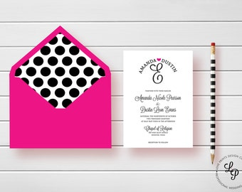 Modern Wedding Invitation, Monogram Wedding Invitation,