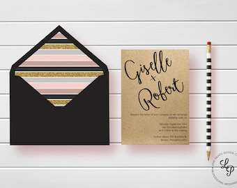 Wedding Invitation Template, Modern Calligraphy Script, Printable Wedding Invitation, Wedding Invitation Suite