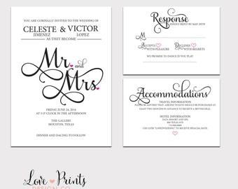 Printable Wedding Invitation Set, Invitation Template, Enclosure Card, Wedding Invitation, Wedding Invite Template, Mr. and Mrs. Invitation