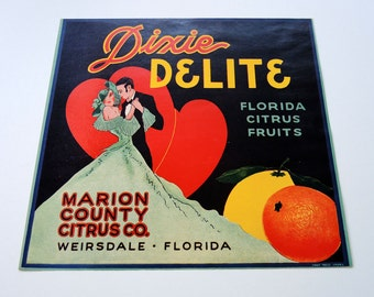 Dixie Delite Fruit Crate Label Vintage