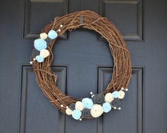 Felt Grapevine Front Door Wreath - Grey, Light Blue and Cream - Year round, winter wreath