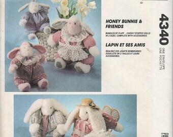 McCalls Crafts 4340 Soft Doll Pattern Honey Bunnie & Friends Rabbits