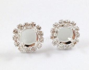 8mm ss39 Empty Earring Base Settings, Clear Crystal Rhinestones Halo Silver Earrings Stud Settings