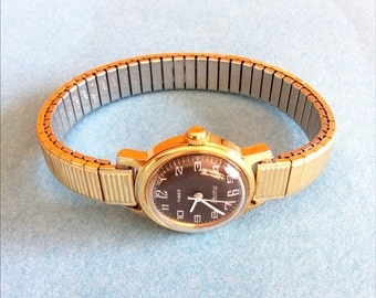 Ladies Timex Electric Vintage Watch brown and gold colored Easy To Read 10K RGP Band