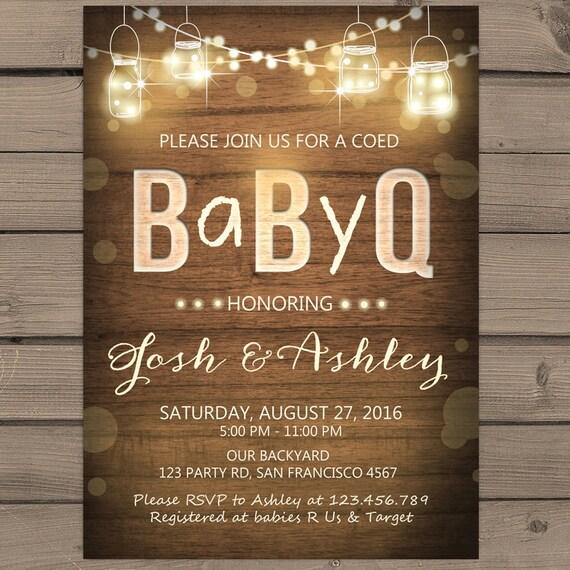 baby q invitation coed baby shower invite bbq invitation co-ed,