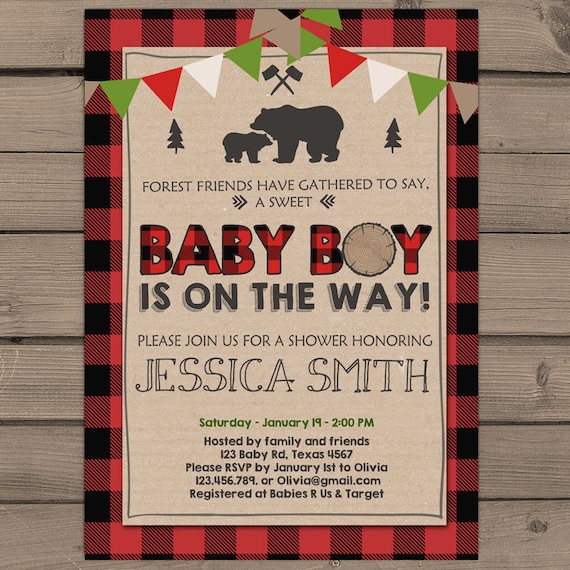 Rustic Lumberjack Themed Baby shower Invitation Buffalo Plaid