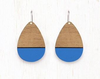 LARGE Rainsong - Teardrop Wood Earrings - laser cut - cornflower blue
