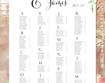 "Seating Chart ""Watercolor Floral 3"" Spring & Summer Garden Flowers Wedding Reception Seating Chart RUSH Digital File Alpha Order Portrait"