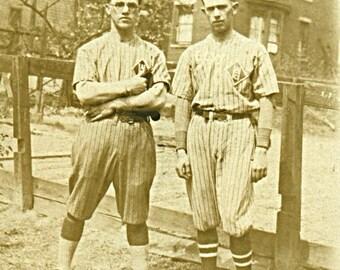 Instant Download Estimated 1920s vintage photo picture men in baseball uniforms Printable Vintage art print