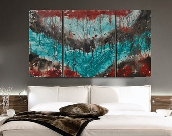 Wood Wall Art, Triptych Abstract, Large Modern Abstract Art, Turquoise Abstract Painting, Contemporary Modern Fine Art, Large Wall Art