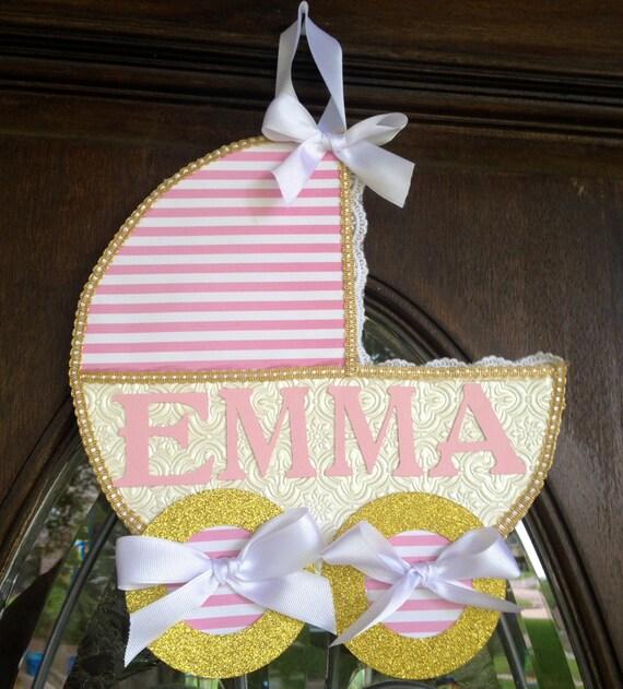 Baby name sign baby carriage door hanger baby girl door for Baby girl hospital door decoration