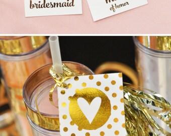Bridesmaid Gift Tags Bridal Party Gift Tags Maid of Honor Gift Tag Gold Gift Tags Gold Foil Tags  (EB3132) set of 8 TAGS
