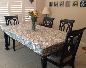 fitted tablecloth with skirt doublefold bias trim classic design fabric tablecloth washable
