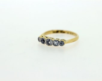 Platinum and 18K Gold 5 Diamond Ring