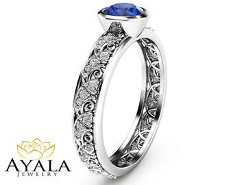 Natural Blue Sapphire Bezel Ring Unique Engagement Ring in 14K White Gold Blue Sapphire Bezel Ring
