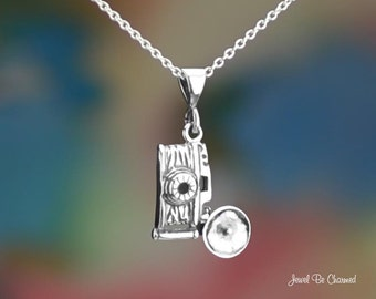 Sterling Silver Vintage Flash Bulb Camera Necklace or Pendant Only 925