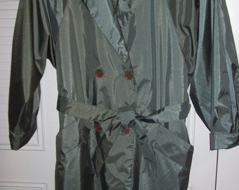Trenchcoat 12, Vintage J Gallery Lined Trench Coat Military Green Size 10 - 12 see details