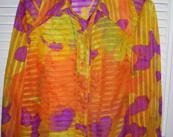 Vintage Coco of CA Neon  Colors in Magenta and Hot Orange - Rodeo Drive Find ! Size 12