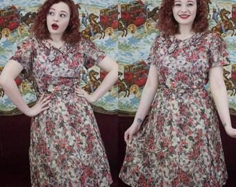 40s Sheer Floral Dress | 40s Dress | 1940s Dress | 40s Floral Dress | 40s Purple Dress | 40s Day Dress | 40s Sheer Floral Dress | 30| Waist