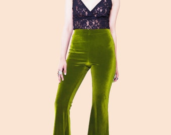 Olive Green Velvet Bell Bottoms