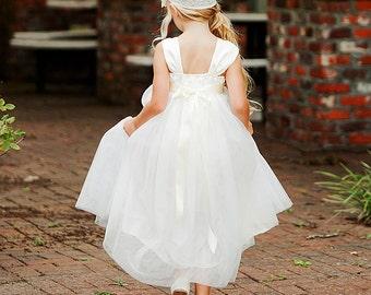 Flower Girl Dress, Classic Ivory Flower Girl, White or Ivory Dress, Tea Length Flower Girl, Tulle Chiffon Flower Girl, Country Flower Girl