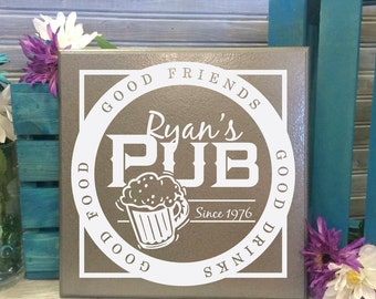 Custom Pub Sign, Personalized Bar Sign, Man Cave Sign Gift for dad, Men's Birthday, Custom Tile, Men's Gift, Going Away Gift
