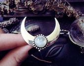 Rainbow Moonstone Moon Ring, Ascendant Moon, Half Moon, Large Moon Ring, Moon Smile, Witch Ring, Adjustable