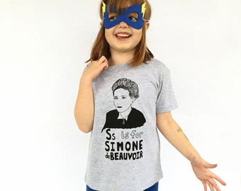 Feminist Kids Shirt: S is for Simone de Beauvoir w/ 9x12 Screen Print