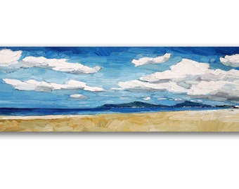 Original oil painting, textured seascape with sky and beach painting, contemporary art