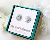 Bridesmaids Earrings, Personalized Bridesmaids Gift, Bridesmaid Earrings, Bridesmaids Studs, Bridesmaids Gifts, Bridal Party Gift, E268