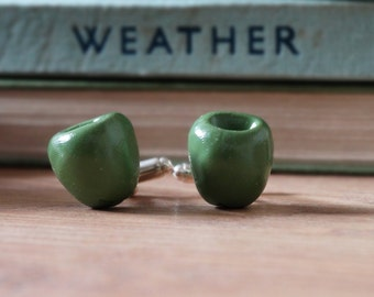 By the Shed Olive Green Fruit Cufflinks - Rhodium Plated - Allotment - Vegetarian - Gardening - Vegetable - Fruit - Mediterranean - Tapas