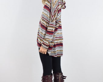 Multi striped hooded tunic S to XL