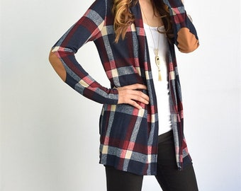 eloges Suede Patch Plaid Cardigan