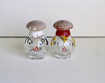 1950s Salt and Pepper Shakers Salty and Peppy I. Rice New York Chefs Kitchen Decor