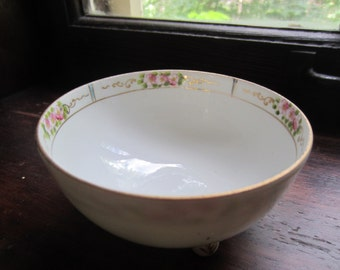 Vintage Hand Painted Nippon Bowl - Pink flowers on White Bowl - Three Footed - Gold Trim
