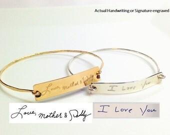 Handwriting Bangle  / Actual Handwriting Bracelet / Signature Bracelet / Personalized engraved bracelet / Memorial handwriting jewelry