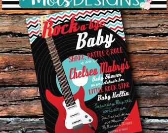 ROCK a bye BABY Shower ROCKSTAR Rock and Roll Shake Rattle Boy 1st Birthday Chevron Guitar Retro Boy Green Blue Red Black Orange Invitation