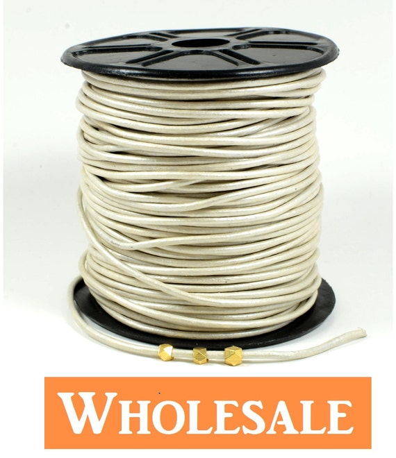 2mm leather cord WHOLESALE in Metallic pearl color, off-white leather cord, fine genuine leather cord - 10 yards/order