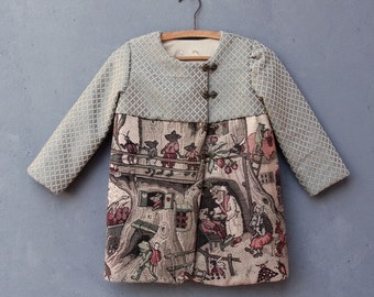 Fairy Tale Jacket Child Coat size T6 Vintage Gobelin Tapestry Fabric Clothing