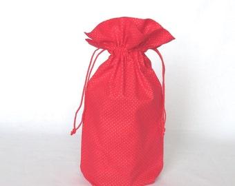 "17""x20"" Large Holiday Gift Bag - Red and Gold Cloth Xmas Reusable Gift Bag - Drawstring Christmas Gift Sack - Eco Friendly Fabric Gift Wrap"