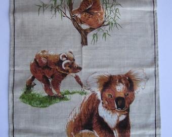 vintage 1970s pure linen Australian tea towel, koalas - greetings from Broken Hill