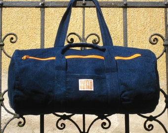 Canvas duffle bag, denim duffel bag, weekend bag, gym bag, gift for him, gift for her