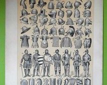 1900 Types of weapons: guns, swords, armors, arches... Antique Beautiful Lithograph... 115 years old nice print!