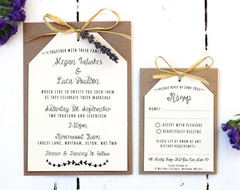 Rustic, Vintage, Lavender and Raffia Invitation Set