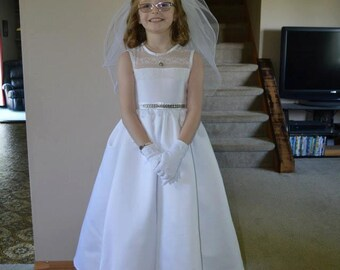 Handmade First Communion Dress from Mom's Wedding Gown