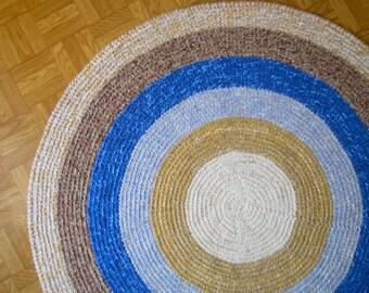 """Round Crochet Rug Blue brown White Rug Bedroom Rug Kitchen Rug Livingroom Rug  45"""" / R35"""