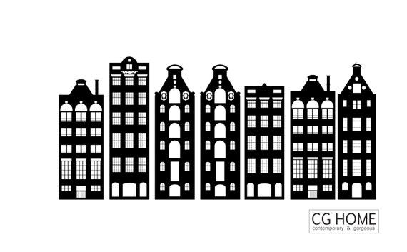 AMSTERDAM houses wall decal BLACK colors vinyl sticker architecture CGhome NURSERY kids room Scandinavian Nordic Home