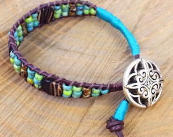 Turquoise & Green Ladder Bracelet with Natural Wood Elements