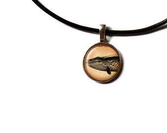 Nautical jewelry Whale pendant Vintage necklace NWR476